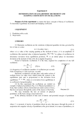 Determination of logarithmic decrement and demping coefficient of oscilations
