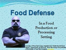 Food Defense Courtesy of PowerPoint PPT Presentation