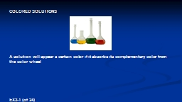 COLORED SOLUTIONS A  solution will appear a certain color if it absorbs its complementary color fro