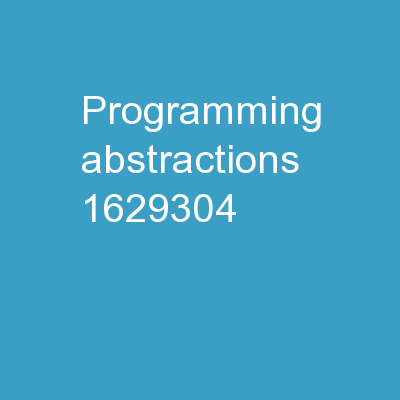 Programming Abstractions