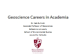 Geoscience Careers in Academia