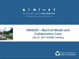 HW2020 –  MacColl  Model and Collaborative Care