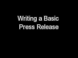 Writing a Basic Press Release