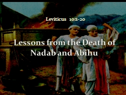 Leviticus 10:1-20 Lessons from the Death of