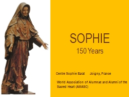 SOPHIE 150 Years World Association of Alumnae and Alumni of the Sacred Heart