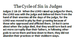 The Cycle of Sin in Judges