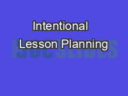 Intentional  Lesson Planning
