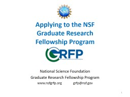 Applying to the NSF  Graduate Research PowerPoint PPT Presentation
