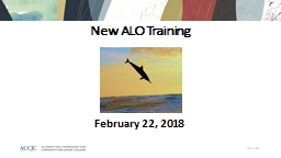 New ALO Training February 22, 2018