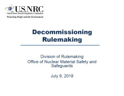 Decommissioning  Rulemaking