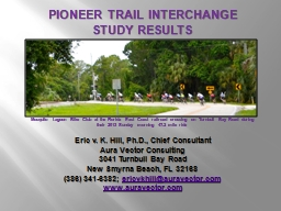 PIONEER TRAIL INTERCHANGE STUDY RESULTS