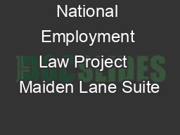 National Employment Law Project   Maiden Lane Suite