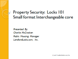 Property Security:   Locks 101