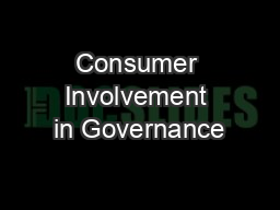Consumer Involvement in Governance