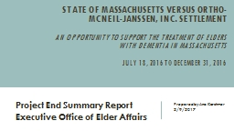State of Massachusetts versus Ortho-McNeil-Janssen, Inc. Settlement