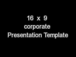 16  x  9 corporate Presentation Template