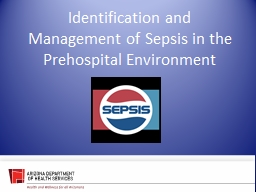 Identification and Management of Sepsis in the Prehospital Environment