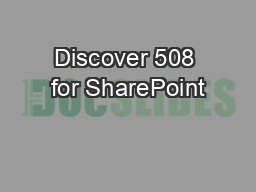 Discover 508 for SharePoint