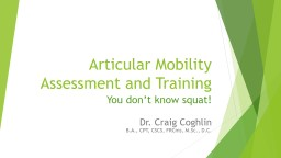 Articular Mobility Assessment and Training