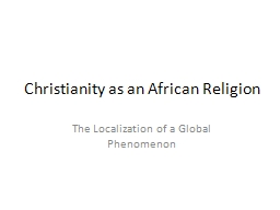 Christianity as an African Religion