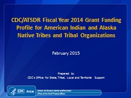 CDC/ATSDR Fiscal Year 2014 Grant Funding Profile for American Indian and Alaska Native Tribes and T