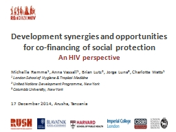 Development synergies and opportunities for co-financing of social