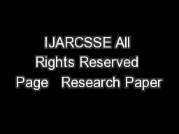 IJARCSSE All Rights Reserved Page   Research Paper