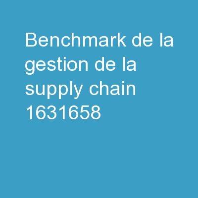 Benchmark de la gestion de la Supply Chain