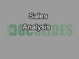 Sales Analysis   &  Sales & Cost Control