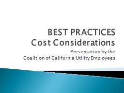 BEST PRACTICES Cost Considerations