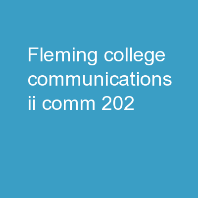 Fleming college  Communications II (COMM 202)