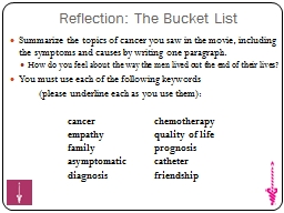 Reflection: The Bucket List