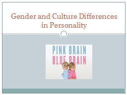 Gender and Culture Differences in Personality