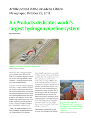Air Products dedicates worlds largest hydrogen pipelin PowerPoint PPT Presentation