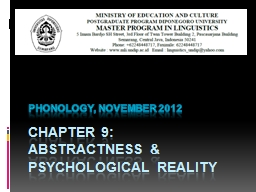 Chapter 9: abstractness & psychological reality