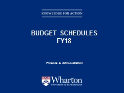 Budget Schedules FY18  Finance & Administration PowerPoint PPT Presentation