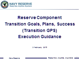Reserve Component Transition Goals, Plans, Success