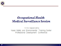 Occupational Health  Medical Surveillance Session