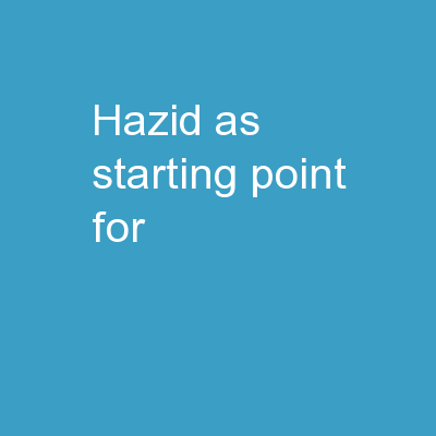 HAZID as starting point for