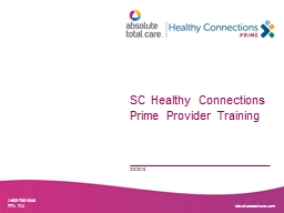 SC Healthy Connections Prime Provider Training