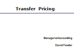 Transfer Pricing Managerial Accounting