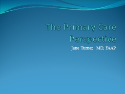 The Primary Care Perspective PowerPoint PPT Presentation