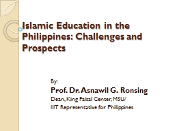 Islamic Education in the Philippines: Challenges and