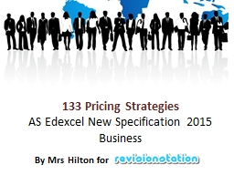 133 Pricing Strategies AS Edexcel New Specification 2015 Business