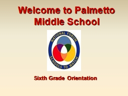 Welcome to Palmetto Middle School