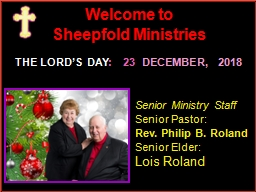 Welcome to Sheepfold Ministries