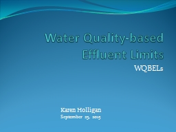 Water  Quality-Based  Effluent Limits