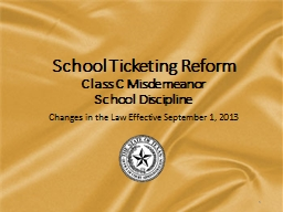 School Ticketing Reform Class C Misdemeanor