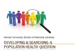 Developing & searching a population health question