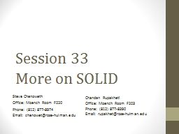 Session 33  More on SOLID